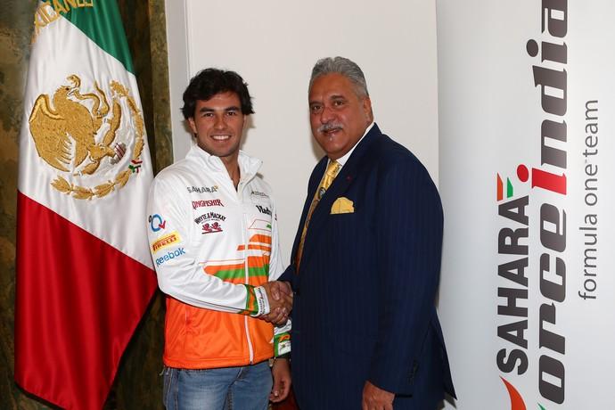 Sergio Pérez e Vijay Mallya - Force India (Foto: Divulgação)