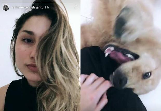 Sasha Meneghel brinca com cachorro (Foto: Reprodução/Instagram)