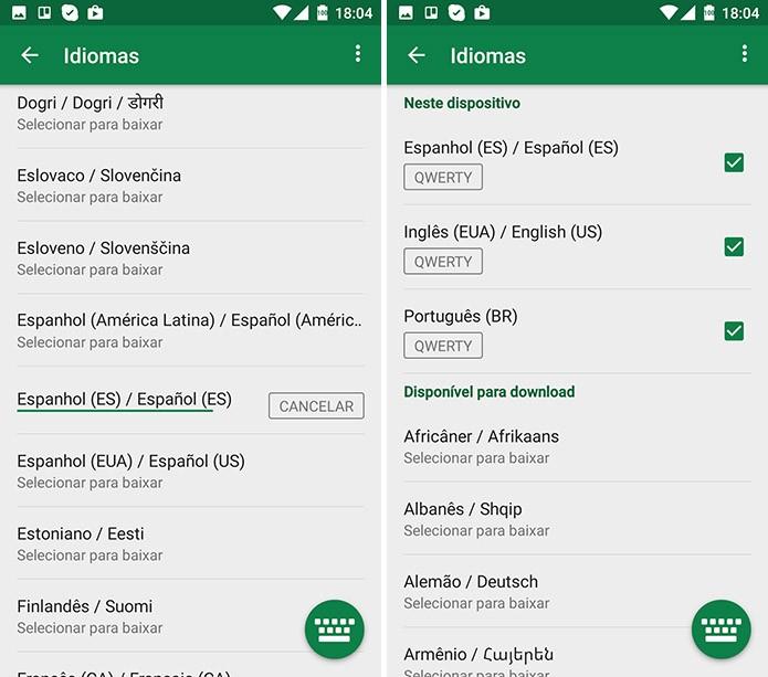 Teclado SwiftKey para Android pode fazer sugestões para múltiplos idiomas (Foto: Reprodução/Elson de Souza)