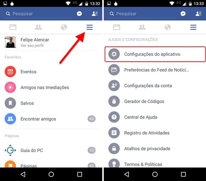 Acessando as configurações do aplicativo do Facebook (Foto: Felipe Alencar/TechTudo)