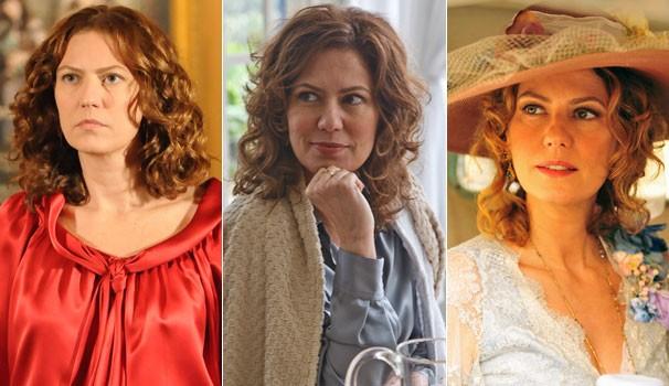 Patrícia Pillar em A Favorita (2008), na série As Brasileiras (2012) e em Lado a Lado (2012) (Foto: CEDOC/ TV Globo)