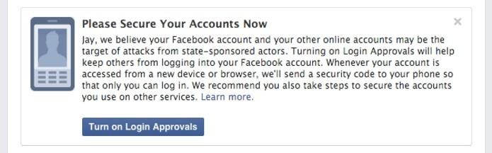 Facebook notificará usuários sobre atividades suspeitas do Governo em suas contas (Foto: Reprodução/Facebook)
