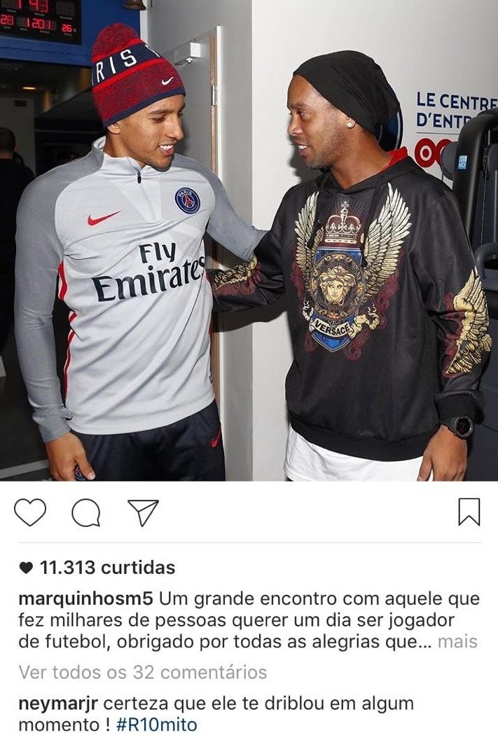 """BLOG: Neymar zoa Marquinhos em foto com R10: """"Certeza que te driblou"""""""