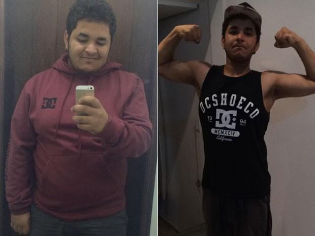 O jovem resolveu mudar hábitos alimentares depois de ter de vestir camisa apertada para ir a festa (Foto: Breno Fagundes/Arquivo pessoal)