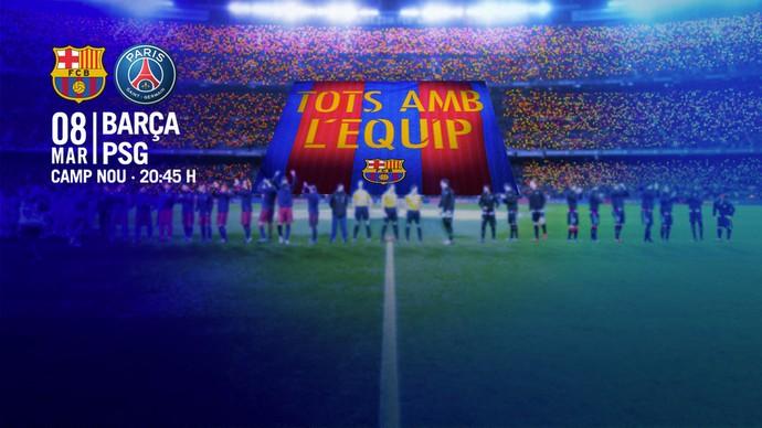 Mosaico Barcelona PSG Liga dos Campeões (Foto: Reprodução / Site Oficial)