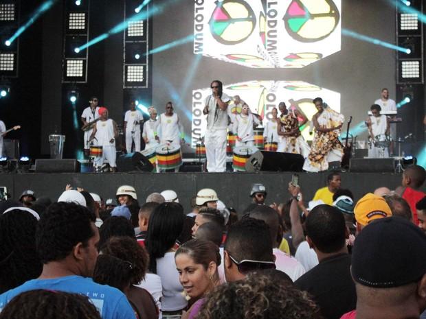 Grupo Olodum começou show no fim da tarde desta sexta-feira (Foto: Robson Oliveira/ Ag. Haack)