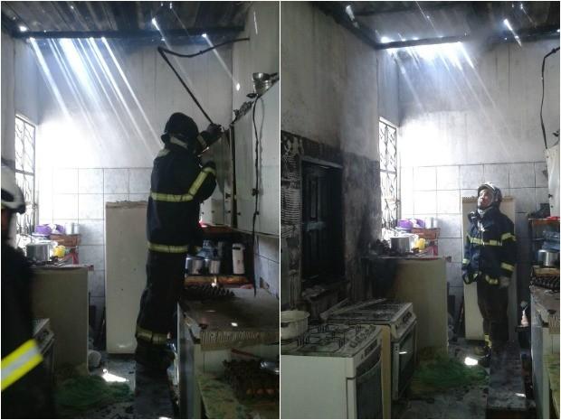 Incêndio destruiu cozinha de casa  (Foto: Corpo de Bombeiros/Divulgação)