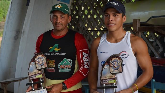 Hiel Gesã e Héricles Miranda, destaques da canoagem em Santarém (Foto: Weldon Luciano/GloboEsporte.com)