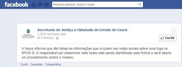 Mensagem da Secretaria de Justiça nega boatos de fuga (Foto: Facebook/Reprodução)