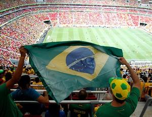 torcida jogo Brasil estádio Mané Garrincha (Foto: Reuters)