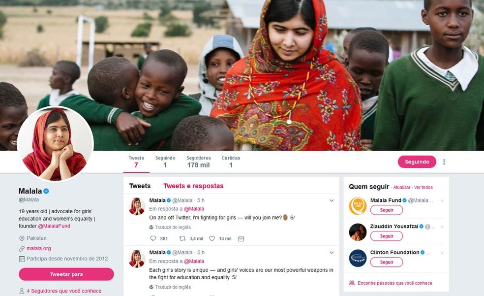 Malala fez sua estreia no Twitter nesta sexta-feira (7) (Foto: Reprodução)