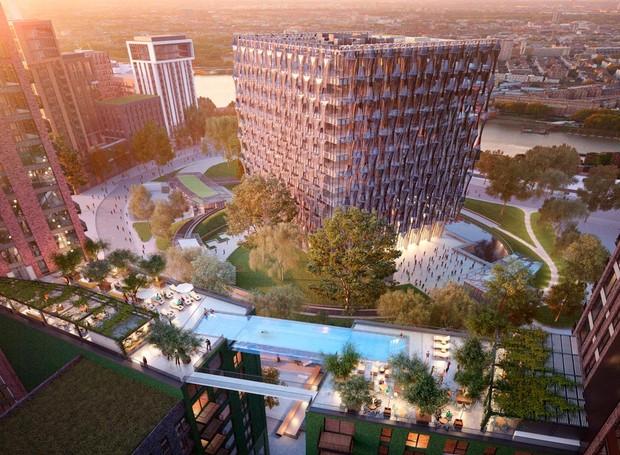 A Sky Pool fica suspensa entre dois prédios de 10 andares, em Londres (Foto: Divulgação)