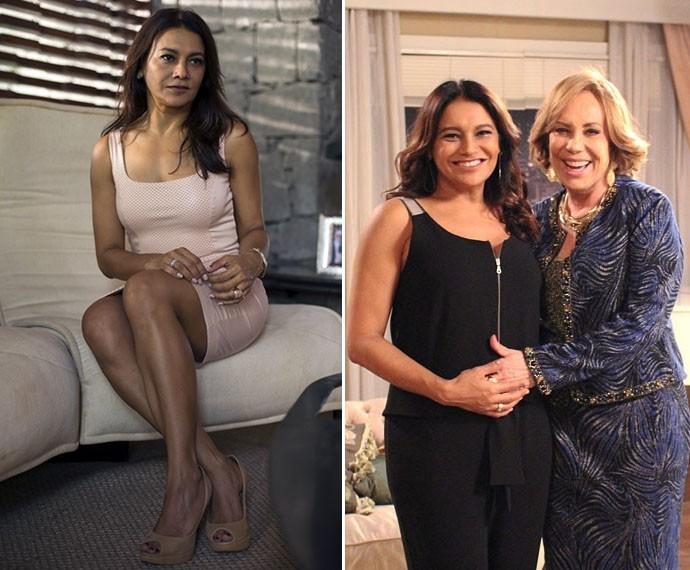À direita, Dira como a sensual Celeste de Amores Roubados; à esquerda, a atriz com seis meses de gravidez em participação na novela Babilônia (Foto: TV Globo/ Ariane Ducati/Gshow)