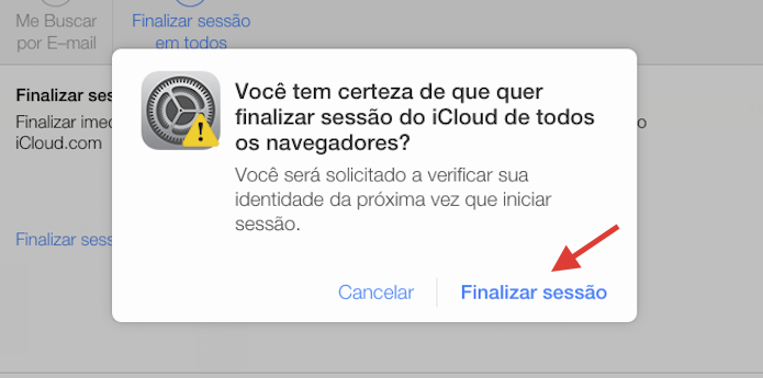 Finalizando sessões do iCloud.com abertas em navegadores web (Foto: Reprodução/Marvin Costa)