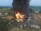 Bombeiros controlam incêndio que destruiu empresa química em Boituva