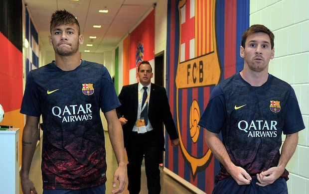 Neymar e Messi Barcelona x Lechia (Foto: Getty Images)