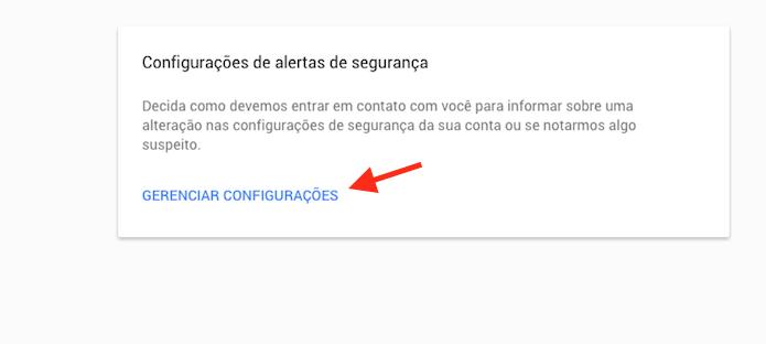 Acessando a página de gerenciamento de notificações de uma conta do Google para receber alertas de invasão no celular (Foto: Reprodução/Marvin Costa)