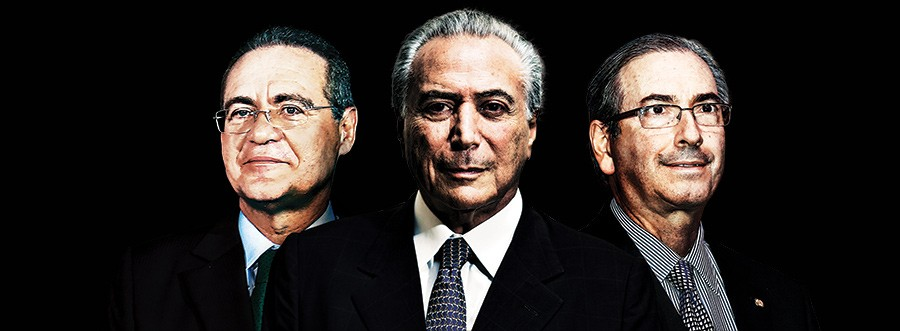 LINHA DE FRENTE Renan Calheiros, Michel Temer e Eduardo Cunha. Eles impedem que a crise suba de vez a rampa do Planalto (Foto: reprodução)