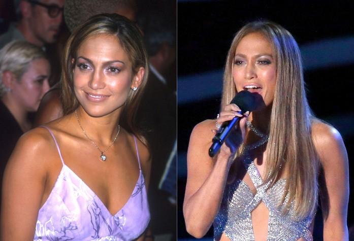 J.Lo tinha 30 aninhos na virada do milênio. Ao lado direito, a cantora está atualmente com 45. (Foto: Getty Images)
