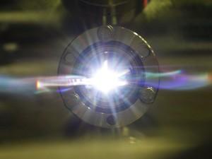 Reflexo da luz síncroton em laboratório de Campinas (Foto: Gustavo Tílio/ Arquivo pessoal)