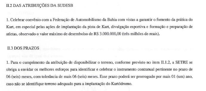 Governo se compromete, em contrato, a localizar outro local para a instalação do kartódromo da Bahia (Foto: Reprodução)