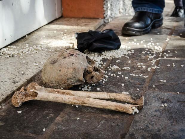 Uma ossada humana foi encontrada em meio ao que parece ser o cenário de um ritual de magia negra em frente ao salão de velório da Igreja São Judas Tadeu, em Franca (SP). Segundo a perícia, o crânio seria de uma pessoa jovem com idade entre 8 e 10 anos (Foto: Igor do Vale/Estadão Conteúdo)