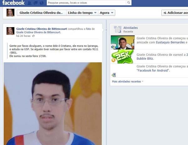 Cristiano Dias Mendes foi visto pela última vez no dia 17 de agosto. (Foto: Reprodução/EPTV)