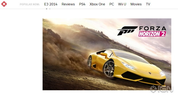 'Forza Horizon 2' foi confirmado pela Microsoft nesta segunda (2) (Foto: Reprodução/IGN)