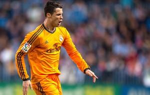 Cristiano Ronaldo comemoração gol Real Madrid jogo Malaga (Foto: AP)