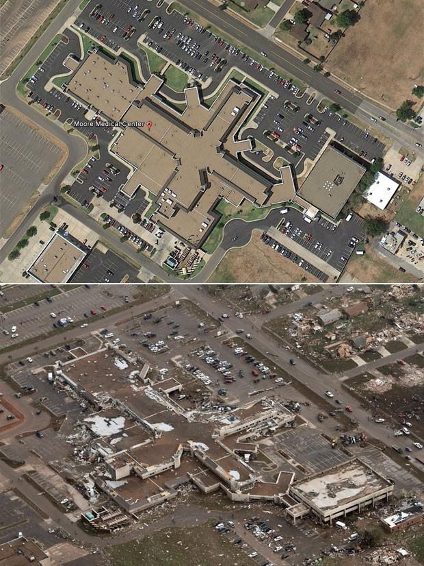 O Centro Médico de Moore, próximo a Oklahoma City, é visto antes (cima) e depois do tornado (Foto: Reprodução/Google Earth e Steve Gooch/AP)