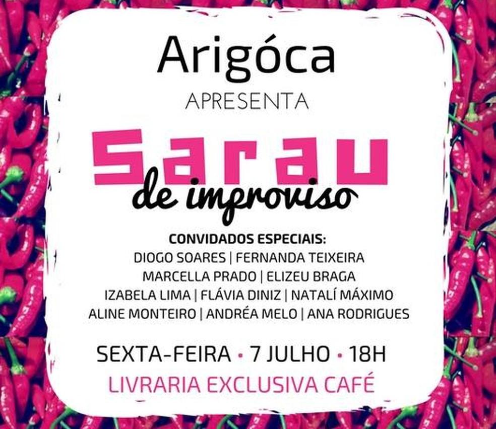 Arigóca apresenta Sarau do Improviso  (Foto: Reprodução/Facebook)