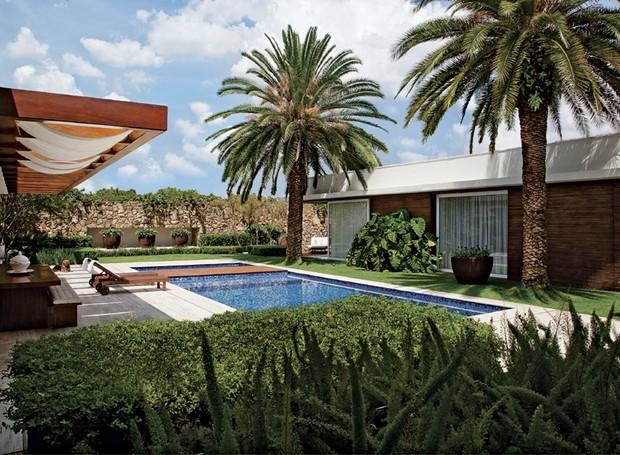Simetria | Duas palmeiras-das-canárias, com 8 m de altura cada uma, pontuam a área da piscina. Entre elas, foi implantado um maciço de guaimbê-ondulado. Em primeiro plano, aspargos-pluma e viburno (Foto: Luís Gomes/Divulgação)