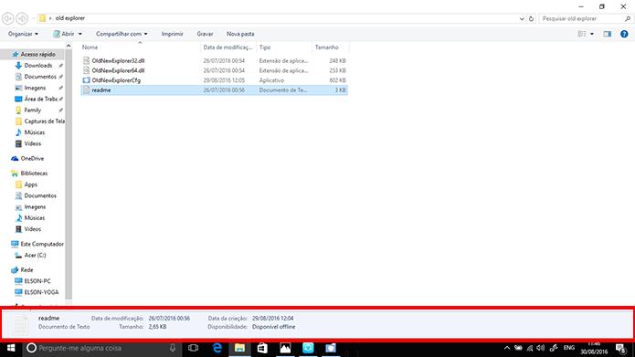 Windows Explorer pode voltar a exibir painel de detalhes e barra de status na parte inferior da janela (Foto: Reprodução/Elson de Souza)