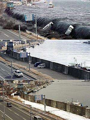 locais atingidos pelo tsunami no Japão, 2 anos depois (Foto: Toru Yamanaka/Jiji Press; Toshifumi Kitamura/AFP)