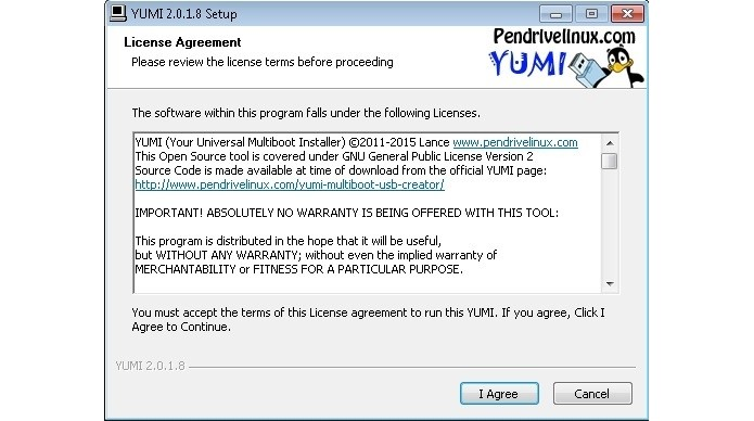 Janela para aceitação de licença de uso do YUMI (Foto: Reprodução/Raquel Freire)
