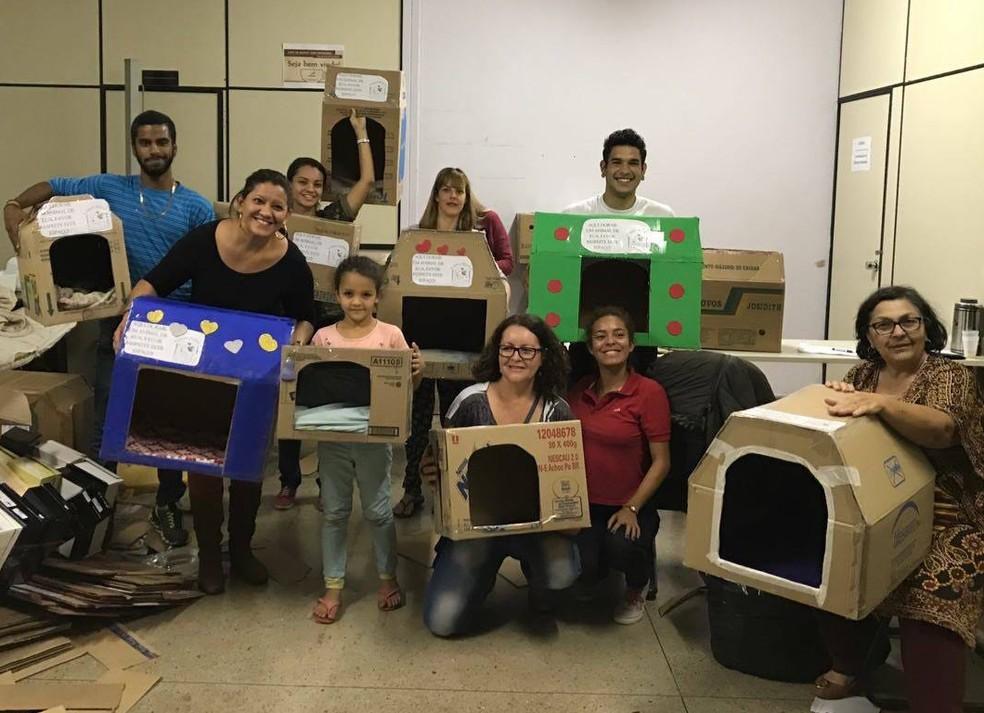 Voluntários que participaram do mutirão de confecção de casas de papelão para animais abandonados (Foto: Arquivo pessoal)