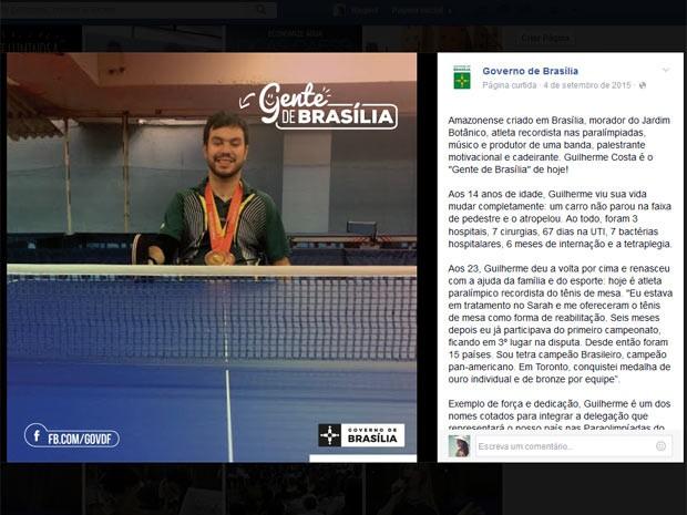 O atleta paralímpico de tênis de mesa Guilherme Costa, no quadro #gentedeBrasília (Foto: Facebook/Reprodução)