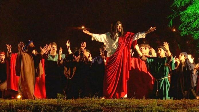 Cidade cenográfica é construída para encenação da Paixão de Cristo, em Ariquemes (Foto: Rondônia TV)