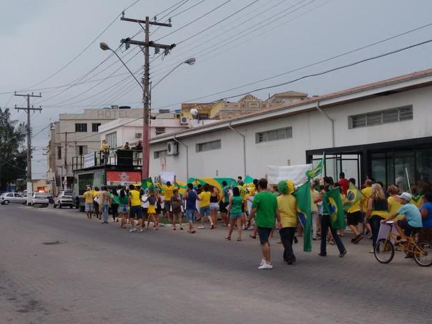 Em Laguna, cerca de 500 pessoas protestaram, conforme a PM (Foto: Polícia Militar/Divulgação)
