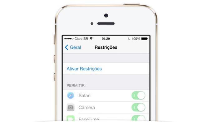 Ativando as Restrições do iOS (Foto: Reprodução/Edivaldo Brito)