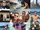 Thiago Martins posa em clima de férias com Paloma Bernardi