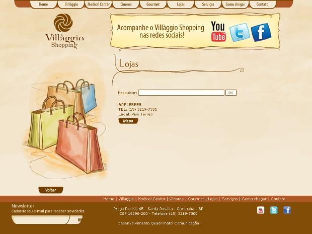 Site do Villagio traz como única loja o restaurante Applebee's (Foto: Reprodução / Villaggioshopping.com.br)