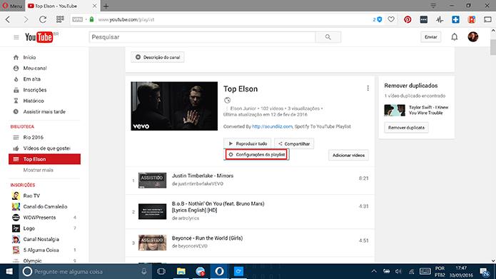 Clique em configurações da playlist para alterar privacidade no YouTube (Foto: Reprodução/Elson de Souza)