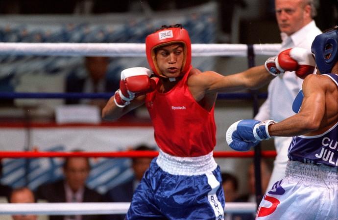 Boxe - Acelino Popó Freitas (Pugilista) - Medalha de Prata  Jogos Pan-Americanos - 1995 (Foto: Custódio Coimbra / Agência O Globo)
