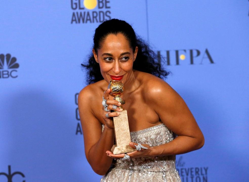 Tracee Ellis Ross levou como melhor atriz em série de comédia, por 'Black-ish' (Foto: Mario Anzuon/Reuters)