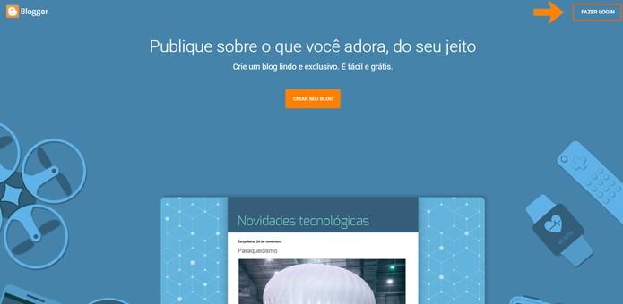 Faça o login no seu Blogger pelo computador (Foto: Reprodução/Barbara Mannara)