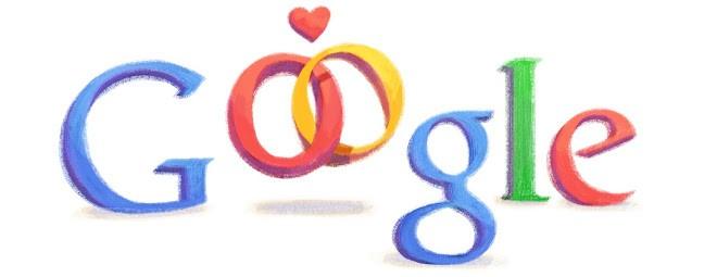 Com alianças, Doodle do Dias dos Namorados 2012 sugere tornar o relacionamento 'mais sério' (Foto: Reprodução/Google)
