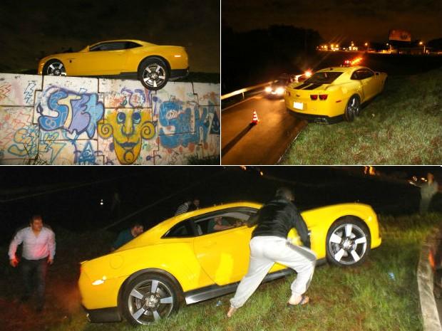 Camaro com placas do Paraguai ficou pendurado a uma altura de quase cinco metros (Foto: Enrique Alliana)