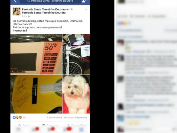 Cachorro foi uma das premiações de bingo em Ribeirão Preto (Foto: Reprodução/Facebook)