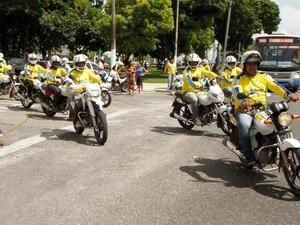 Em Belém, pontos de mototaxistas regularizados recebem sinalização (Foto: Oswaldo Forte/COMUS)